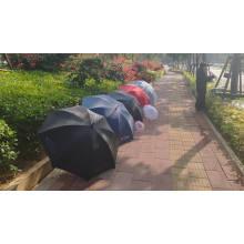 Оптовый автоматический прямой черный зонт из эпонж-ткани от солнца и дождя 23 дюйма для улицы