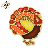 Promotional gift bespoke metal colorful paint turkey badge pins
