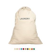 Custom print Logo Hotel Travel Strong 100% Organic Biodegradable Drawstring Washing Cotton Canvas Eco Laundry Bag
