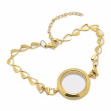 Bracelets de médaillon de charme de boîte de pillule d'or en vrac bon marché pour des femmes