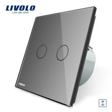 Interrupteur de rideau intelligent VL-C702W-15 avec le panneau en verre de luxe gris de Livolo EU Touch