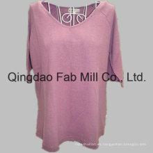 Hemp / algodón orgánico camiseta de cuello en V de las mujeres