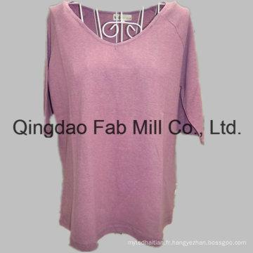 T-shirt manches courtes en chanvre / coton organique à col en V