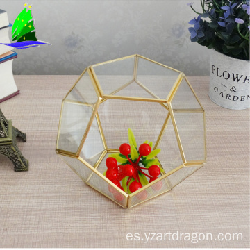 Wholesale handmade glass vase souvenir copper geometric Terrarium