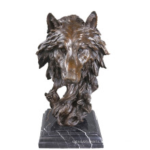 Animal Bronze Sculpture Wolf Head Decoration Brass Statue Tpy-067
