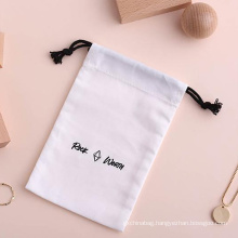 Wholesale Private Label Drawstring Gift Packaging Pouches Printed Cotton Jewelry Packaging Bags