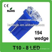 Blue 194 wedge T10 vehicle led lighting