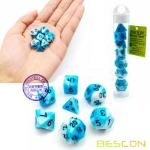 Bescon Mini Gemini Two Tone Polyhedral RPG Dice Set 10MM, Small Mini RPG Role Playing Game Dice Set D4-D20 in Tube, ICY TRACK