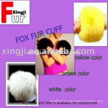 dyed color or natural color real fox fur cuff for jacket
