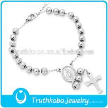 Vide Médaille Catholique En Acier Inoxydable Bracelet De Perles Haute Argent Polonais Argent 5MM Croix Chapelet Bracelet pour Catholique