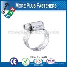 Fabriqué en Taiwan Types en acier inoxydable de serre-câbles Colliers de serrage étroits Colliers de serrage