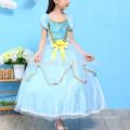 Children girl boutique cospay costume dress blue color party wear princess dress kids