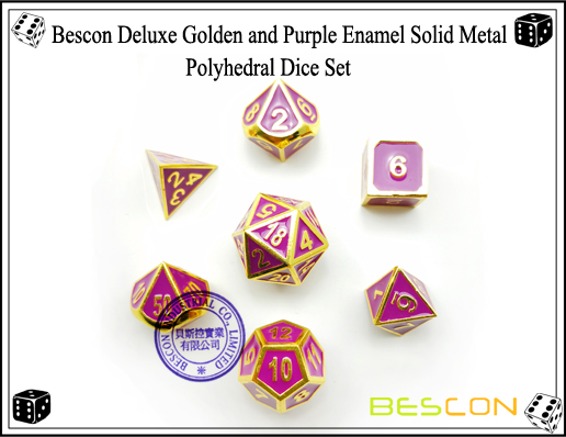Bescon Deluxe Golden and Purple Enamel Solid Metal Polyhedral Role Playing RPG Game Dice Set (7 Die in Pack)-4