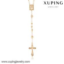 43267 Xuping chapelet bijoux en plaqué or 18 carats chaîne collier, la dernière conception de bijoux en or saoudien collier
