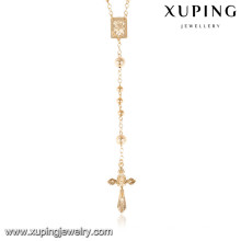 43267 Xuping rosary jewelry 18k gold plated chain necklace, latest design saudi gold jewelry necklace