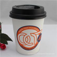Tasse jetable simple de papier de mur de 12oz pour le café