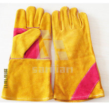 """Double Plam Orange 13"""" Split Leather Ab/Bc Grade Welding Safety Glove with CE"""