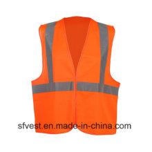 Gilet de sécurité d'avertissement réfléchissant haute visibilité 100% polyester avec EN ISO