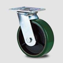 H6-1heavy Duty Fixed Type Double Ball PU rouge sur roulettes à rouleau de fer