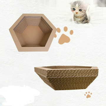 Hexagonal Paper Cat Scratcher Lounge Bed