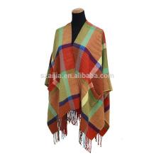 Fashion ladies big border tartan plaid poncho