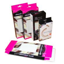 Caja de cartón de cartón de impresión de cartón plegable / caja de embalaje USB con percha