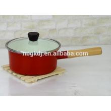 panela de esmalte de corpo de cor com alça de madeira e knob panela de molho de esmalte