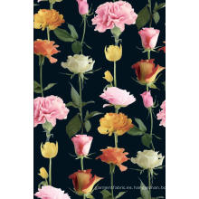Color de rosa / clavel flor impresa a tela de la ropa de poliester