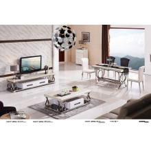 Muebles de casa Marfil Whiite mesa de centro de mármol