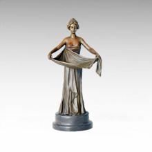 Candelabro Bronce Escultura Falda Señora Brass Estatua Candelero Tpch-055