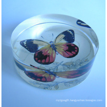 Transparent Flat Crystal with Colored Butterfly (CP4011)