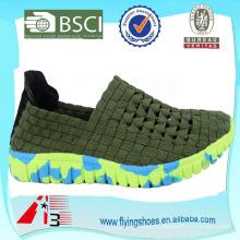 Italina homem Woven Elastic Deslizamento-on Comfort Flat Sport Shoes