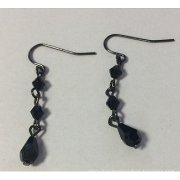 Exotic Black Earrings with Metal