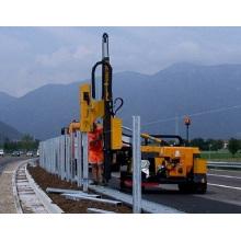 Highway guardrail fix pile driving machine