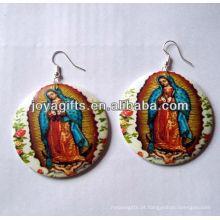 Novo design brincos de madeira Impressão de brinco de Jesus