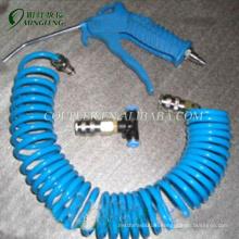 Blue PU coil hose brass pneumatic air guns with hose