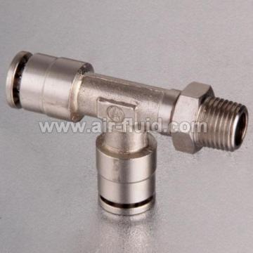 Run Tee Male Thread Nickel Plated Brass Push in Fittings