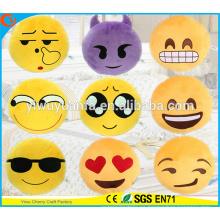 Hot Selling alta calidad novedad diseño amarillo Emoji almohada almohada de expresión facial de la felpa