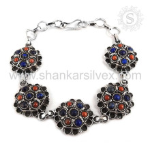 Spektakuläre Lapis, Koralle Edelstein Armband 925 Sterling Silber Schmuck Handgefertigte Jaipur Online Schmuck