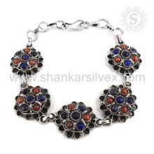 Lapis espectacular, pulsera de piedras preciosas de coral 925 joyería de plata esterlina hecho a mano Jaipur Joyería en línea