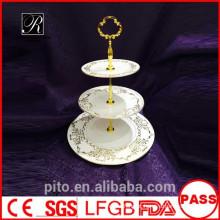 P & T fábrica de cerâmica, stands de bolo de alta qualidade, stands bolo de casamento, placas de ouro padrão