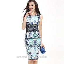 Femmes d'été élégante fleur de haute qualité imprimée O-neck mini A-line robes coréennes nouvelle robe de mode femme SD03