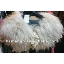 Latest fashion fur scarf with lace decorate