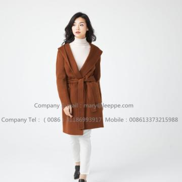 Hooded Medium Cashmere Coat För dam