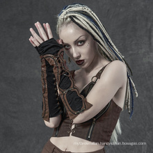 PUNK RAVE WS-324SSF lady girl sexy plus size women teampunk lace applicated fingnrless club vintage glove sleeves
