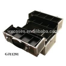ящик для инструментов черный сильный алюминиевый с 4 пластиковых лотков и регулируемой отсеки на дне корпуса