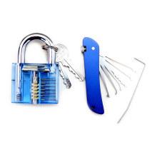 Cadeado de Prática Transparente Azul com Ferramentas Lockpicking de Faca Dobrável Azul (Combo 5-1)