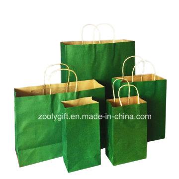 Großhandelspreis recyceln Kraft-Geschenk-Fördermaschine-Papier-Beutel mit verdrehtem Handgriff