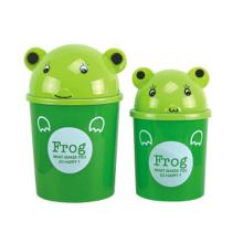 Green Frog Design Plastic Flip-on Trash Can (A11-5805)