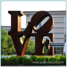 Outdoor Large Size Corteen Steel Love Sculpture
